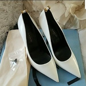 NEW WHITE LANVIN CREW DETAILS WHITE SHOES 37